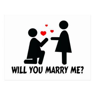 Ska dig att gifta sig mig böjde knäkvinnan & vykort