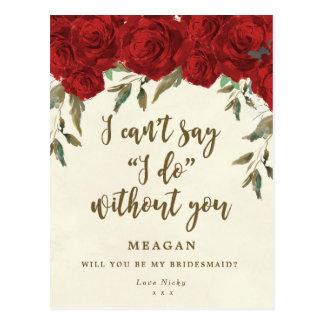 Ska dig var min blom- brudtärnakortröd ros vykort