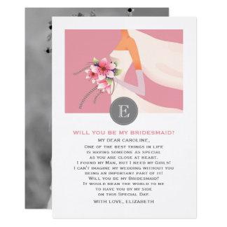 Ska dig var min brudtärna? Beställnings- fotokort 12,7 X 17,8 Cm Inbjudningskort