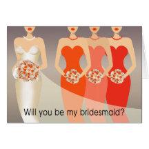 Ska dig var min brudtärna? Orange för brudens sida Hälsnings Kort