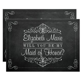Ska dig var min maid of honor? Svart tavlakort 12,7 X 17,8 Cm Inbjudningskort