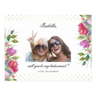 Ska dig var min polka dots & blommor för brudtärna vykort