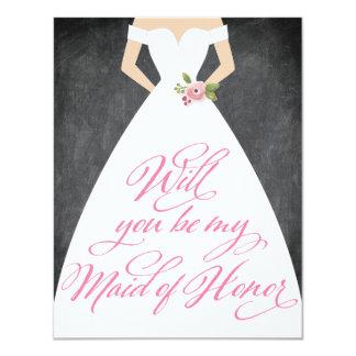 Ska dig var min svart tavlaklänning för maid of 10,8 x 14 cm inbjudningskort
