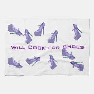 Ska kock för Shoes lilor och vit Kökshandduk