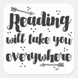 ska läsning tar dig överallt fyrkantigt klistermärke