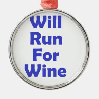 Ska springa för vinblått julgransprydnad metall