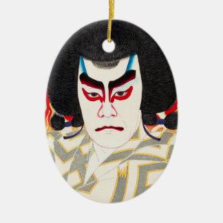 Skådespelare Ichikawa Sadanji som Narukami Julgransprydnad Keramik