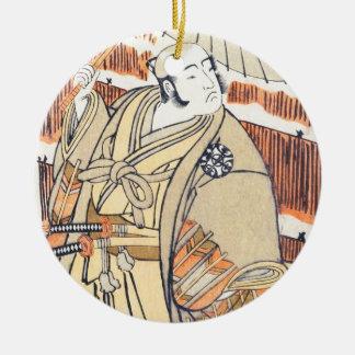 Skådespelare Nakamura Katsugorô som Kajiwara Genda Julgransprydnad Keramik