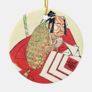Skådespelaren Ichikawa Danzô III som en Julgransprydnad Keramik