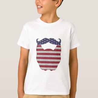 Skägg- och mustaschamerikanska flaggan t shirt