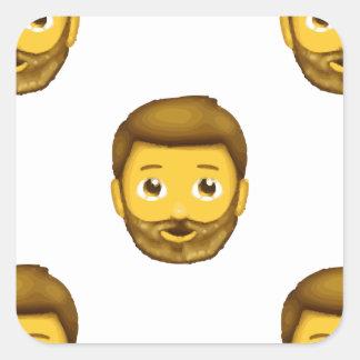skäggig man för emoji fyrkantigt klistermärke