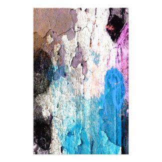 Skala måla i blått, lilor, rosor brevpapper
