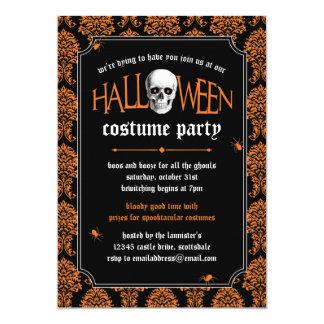 Skalle för Halloween dräktparty på orange damast 12,7 X 17,8 Cm Inbjudningskort