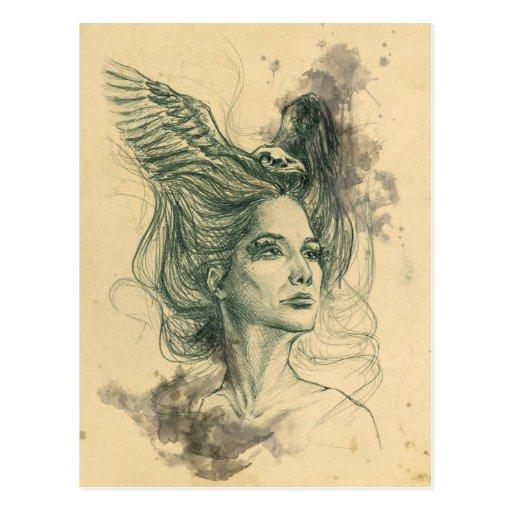 Skalle för kvinnaporträttfågel och vingarvykort vykort