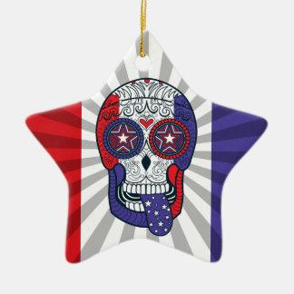 Skalle för socker för amerikanska flagganUSA Julgransprydnad Keramik