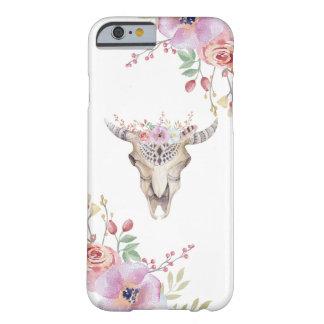 Skalle för tjur för Boho vattenfärg blom- Barely There iPhone 6 Fodral