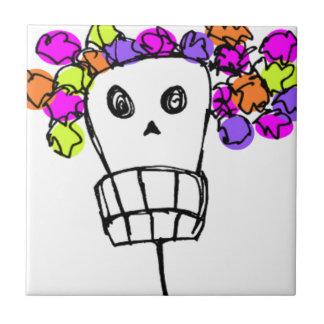 skalle med blommor liten kakelplatta