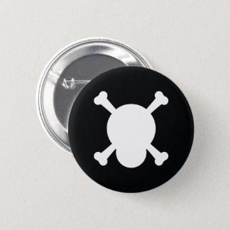 Skalle och ben i svartvitt standard knapp rund 5.7 cm