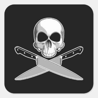 Skalle- och kockknivar fyrkantigt klistermärke