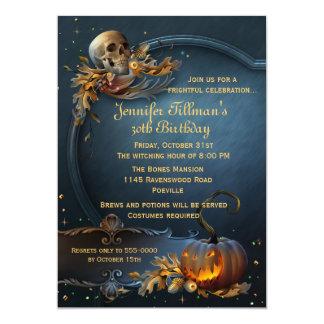 Skalle- och pumpaHalloween födelsedagsfest 12,7 X 17,8 Cm Inbjudningskort