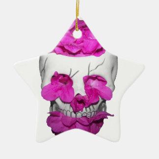 Skalle- och rosablommor julgransprydnad keramik