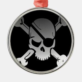 SkalleCrossbones pirat somflagga bleknar ögat, Julgransprydnad Metall