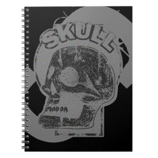 SkalleKeyholegrå färg & bekymrad logotyp för svart Anteckningsbok