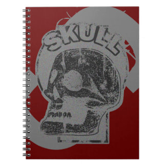 SkalleKeyholegrå färg & bekymrad logotyp för svart Anteckningsbok Med Spiral