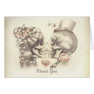 Skallen kopplar ihop bröllop tackar dig kort