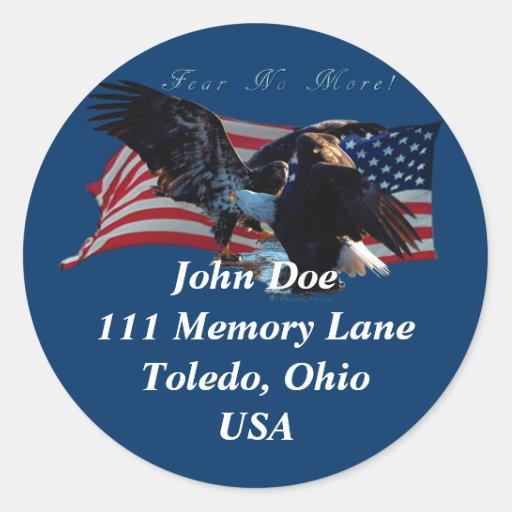 Skallig klistermärke för Eagle-/USflaggaadress