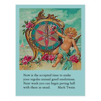 skämt Mark Twain för nytt år Vykort