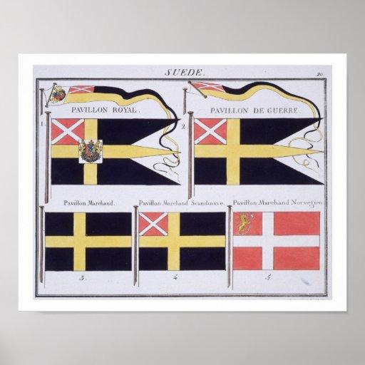 Skandinavet sjunker, från en fransk bok av flaggor affischer