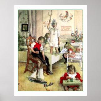 Skandinavien för vintage för Carl Larsson Poster