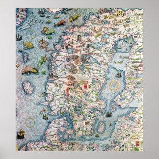 Skandinavien specificerar från den Carta marinaen Affisch
