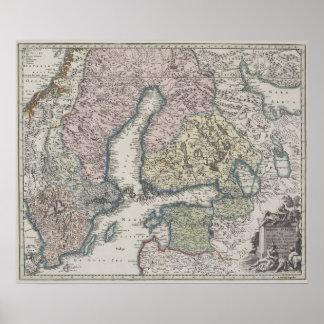 Skandinavisk antik karta affisch