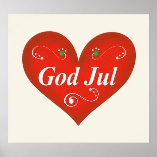 Skandinavisk hjärta för gudJul jul Affischer