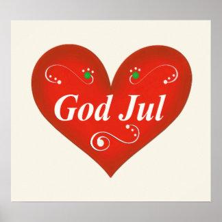 Skandinavisk hjärta för gudJul jul Poster