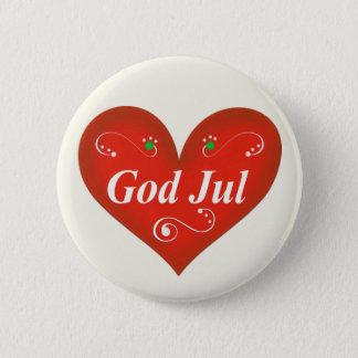 Skandinavisk hjärta för gudJul jul Standard Knapp Rund 5.7 Cm