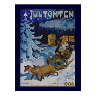 Skandinavisk jul 1906 för vintage vykort