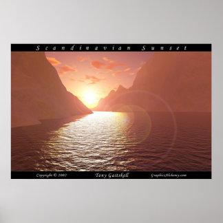 Skandinavisk solnedgång affisch