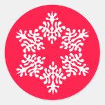 Skandinavisk vitjulSnowflake Rund Klistermärke