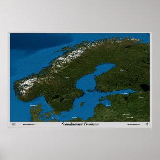 Skandinaviska länder från den satellit- affischen