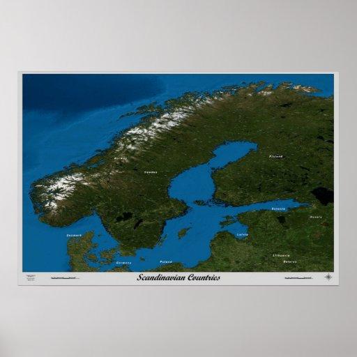 Skandinaviska länder från den satellit- affischen  affisch