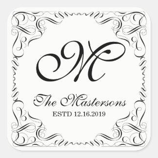 Skapa din egna eleganta behagfulla bröllopMonogram Fyrkantigt Klistermärke