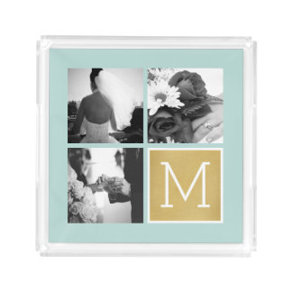 Skapa din egna Monogram för bröllopfotoCollage Bricka