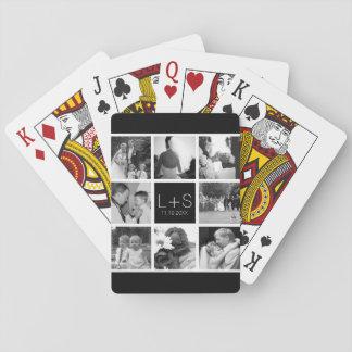 Skapa din egna Monogram för bröllopfotoCollage Spel Kort