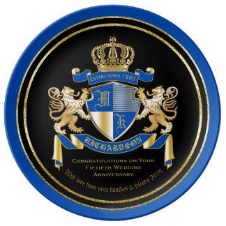 Skapa din guld- lejona Emblem för egna Porslinstallrik
