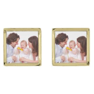 Skapa ditt egna familjfoto guldpläterade manschetterknappar