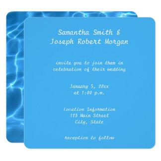Skapa ditt egna simbassängfotobröllop fyrkantigt 13,3 cm inbjudningskort