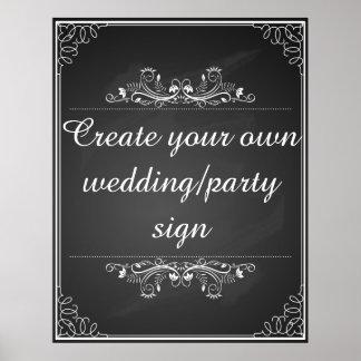 Skapa ditt egna svart tavlabröllop undertecknar poster